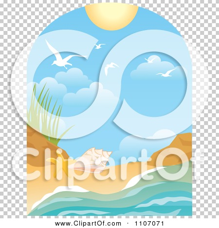 Clipart Beach Window Scene With Surf Shells Gulls And Sun ...