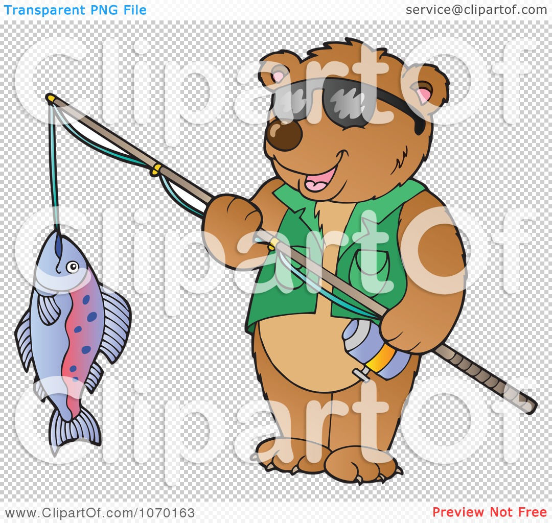 Clipart Bear Holding His Catch On A Fishing Pole - Royalty ...