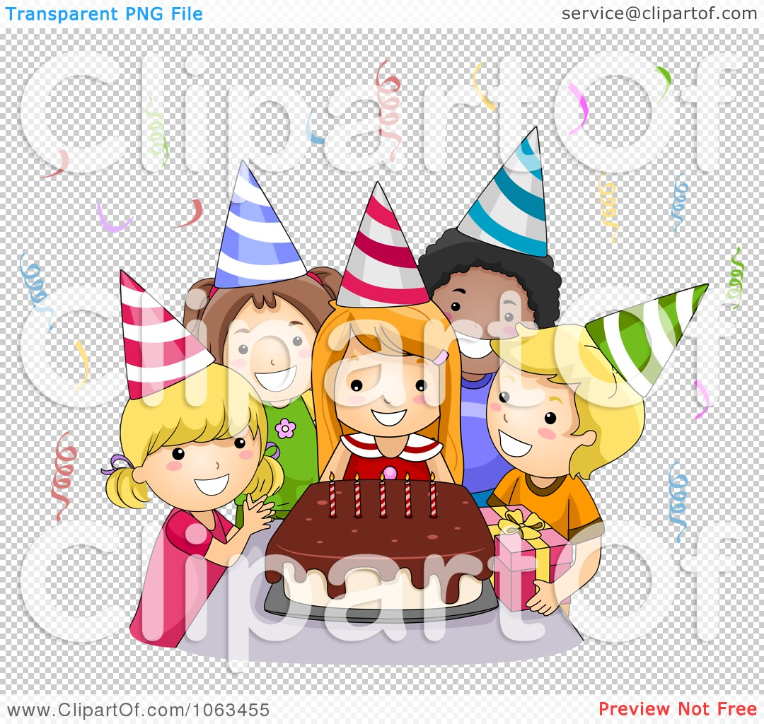 Clipart Birthday Kids Around A Cake - Royalty Free Vector ...