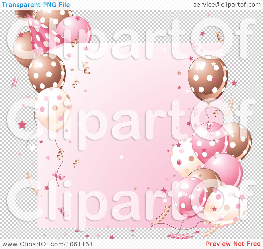 Clipart Birthday Party Frame In Brown And Pink Royalty Free