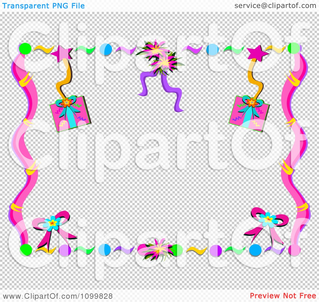 Clipart Birthday Party Gift Streamer And Confetti Frame Royalty