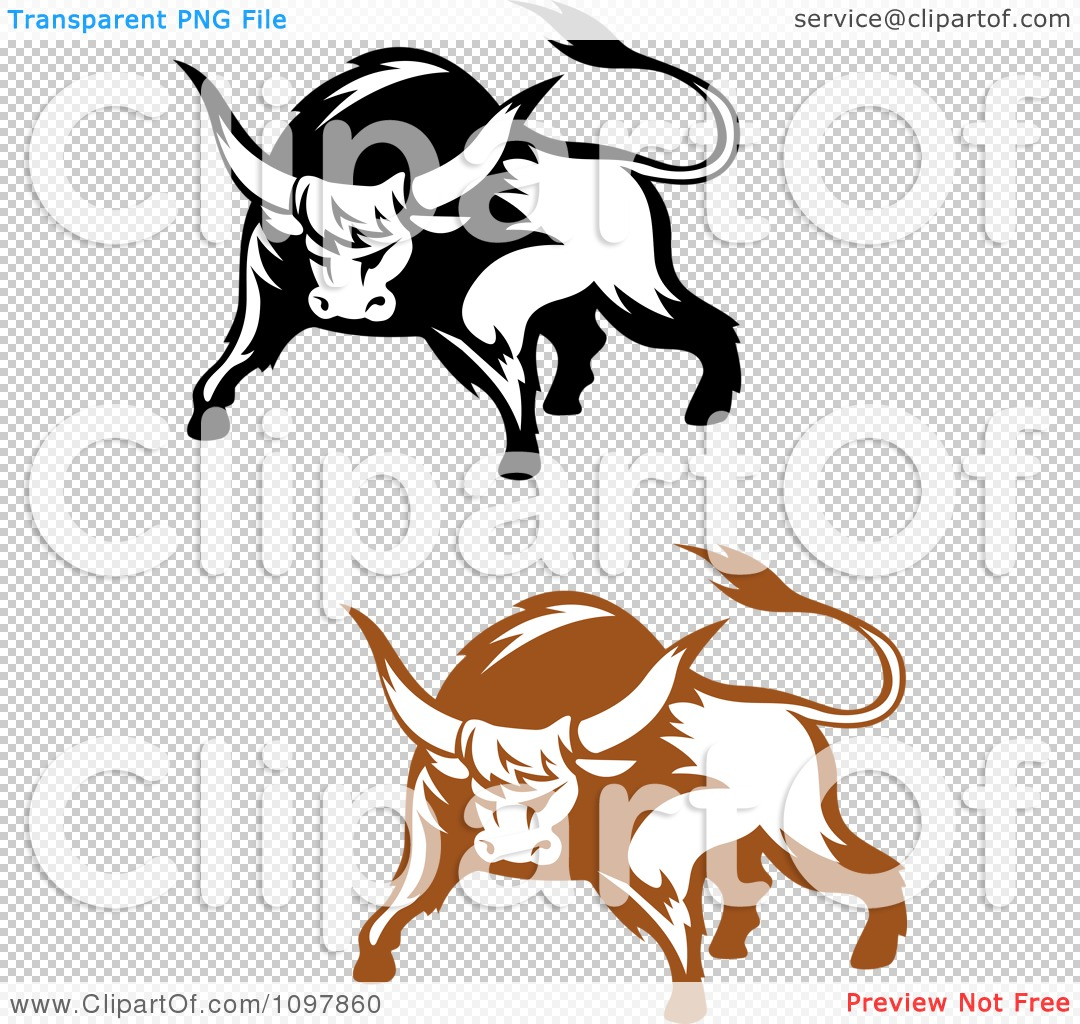 Clipart Black And Brown Tough Bulls 1 - Royalty Free ...