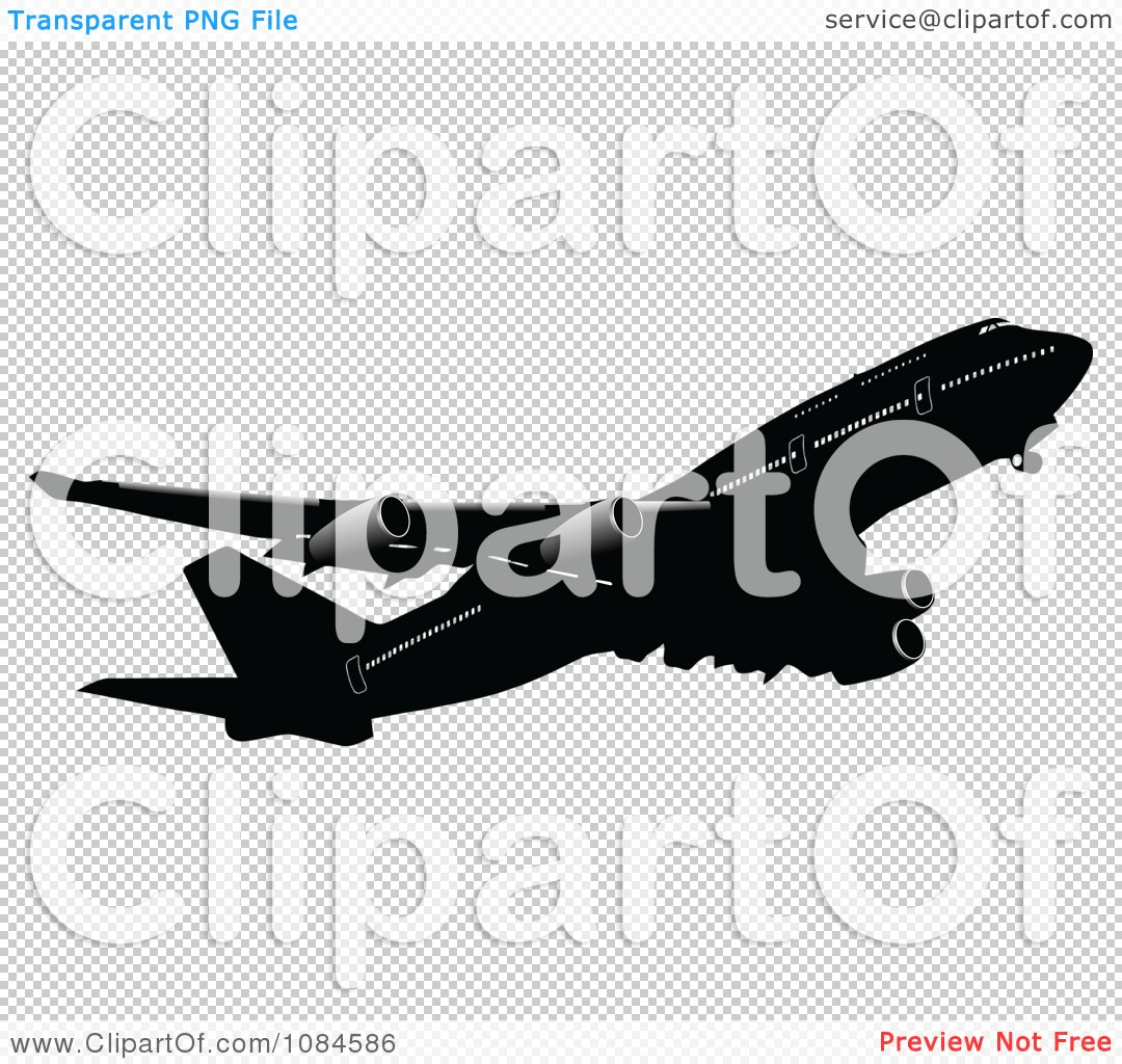 Clipart Black And Gray Commercial Airplane 2 - Royalty Free Vector ...