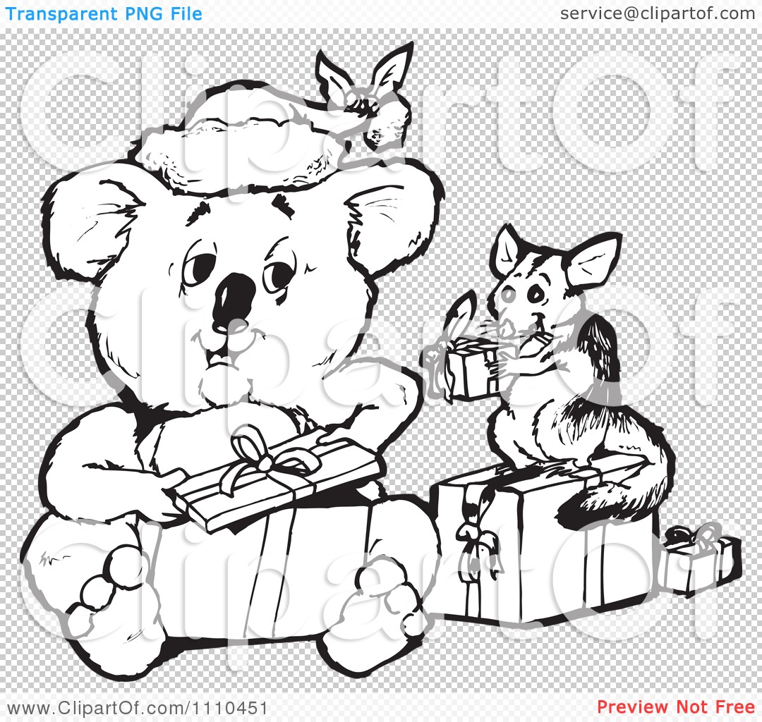 Clipart Black And White Aussie Christmas Koala Opening Presents ...