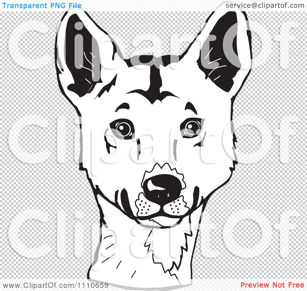 Clipart Black And White Aussie Dingo Head - Royalty Free ...