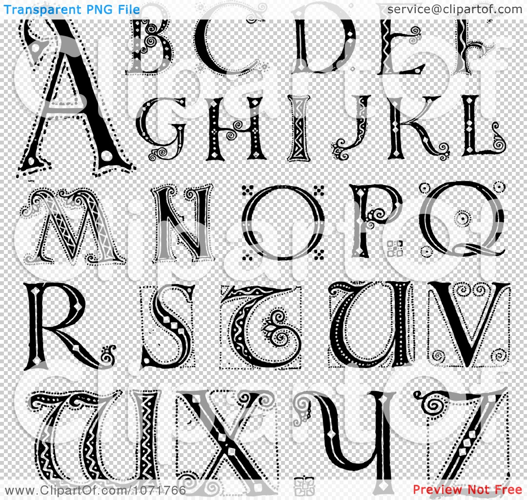 Clipart Black And White Capital Vintage Styled Alphabet Letters ...