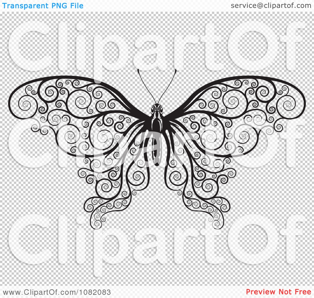 clipart black and white decorative swirl butterfly royalty free