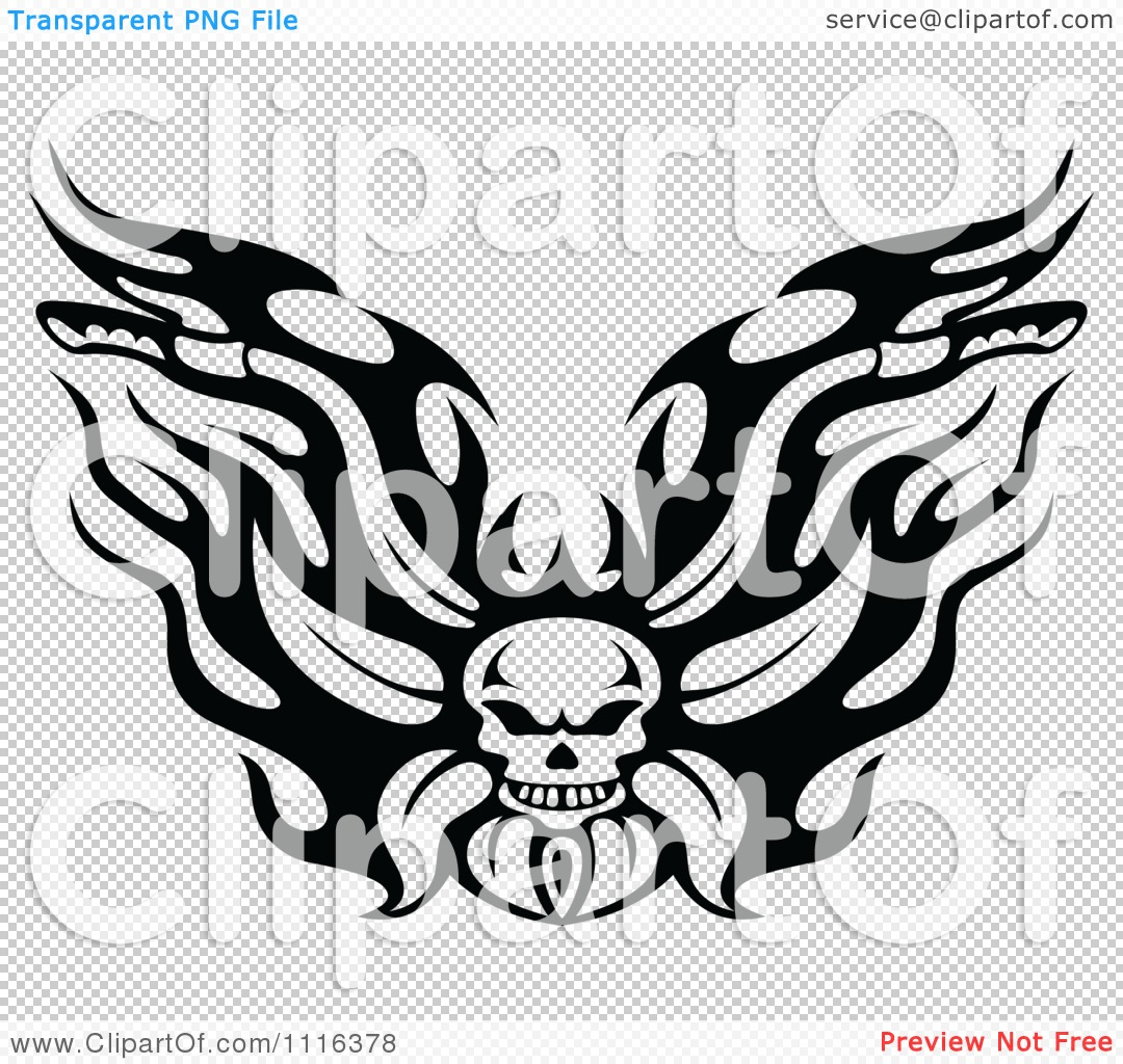 Motorcycle clip art with flames - Png File Has A