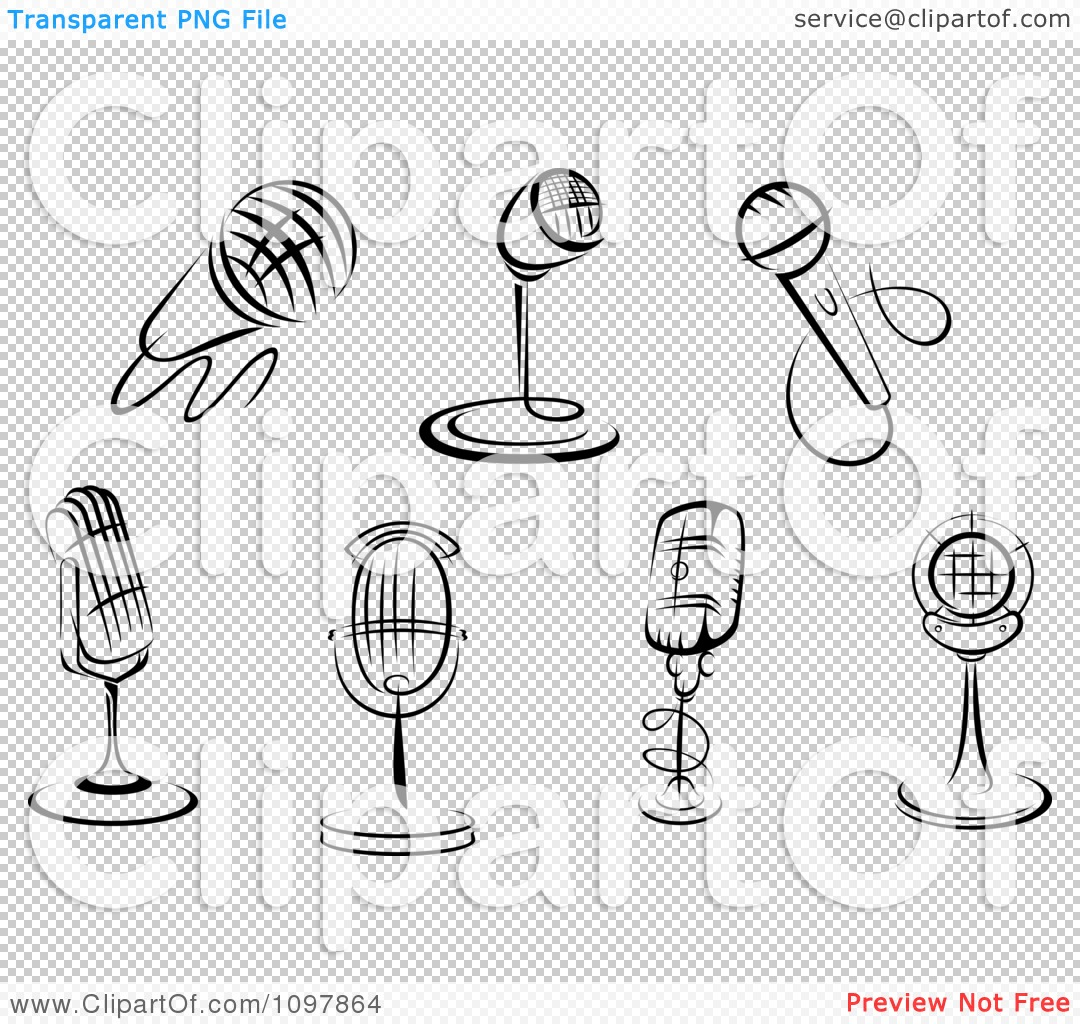 Clipart Black And White Karaoke Or Singer And Retro Radio ...