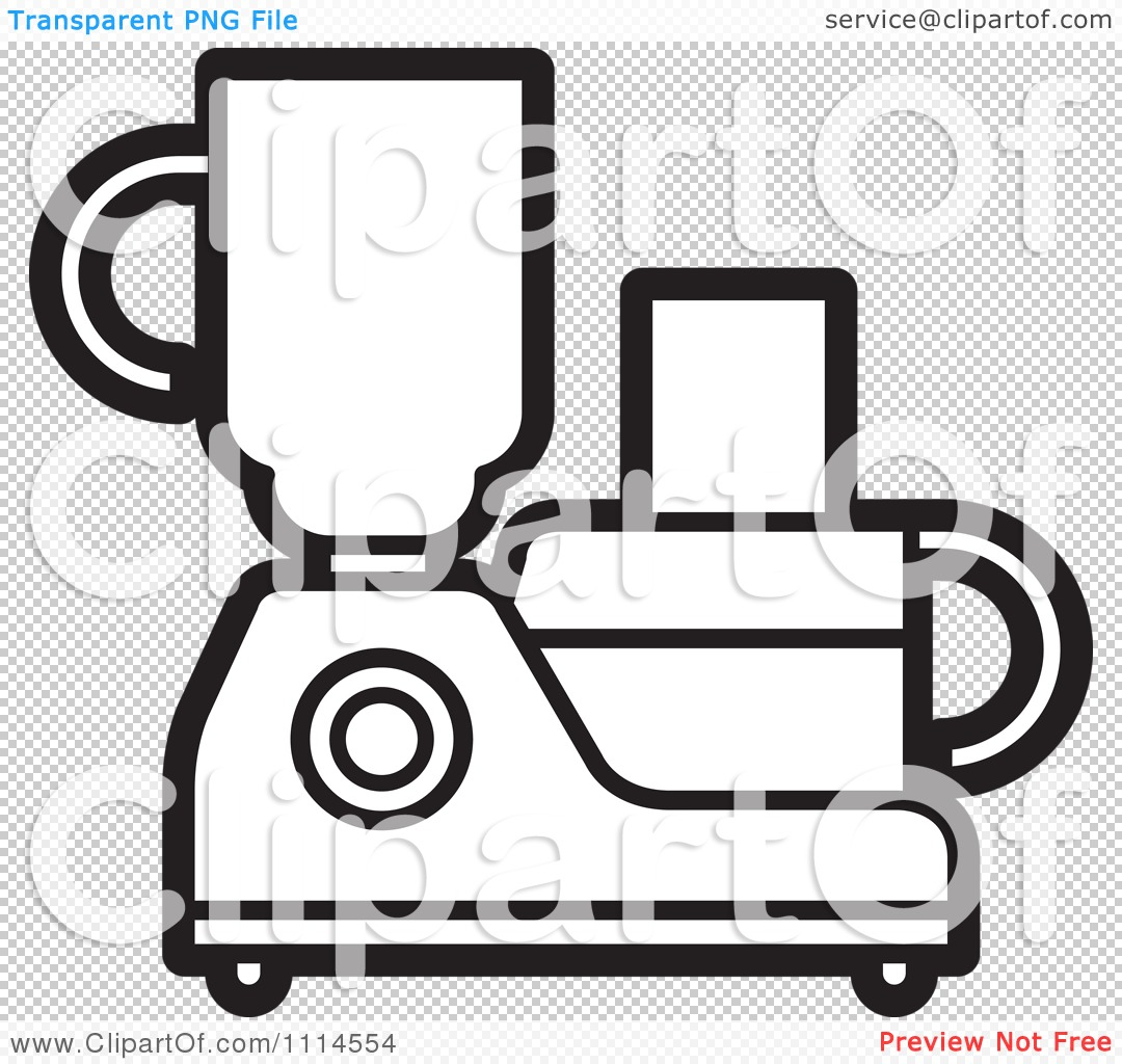 Cartoon Food Processor ~ Clipart black and white kitchen food processor or blender