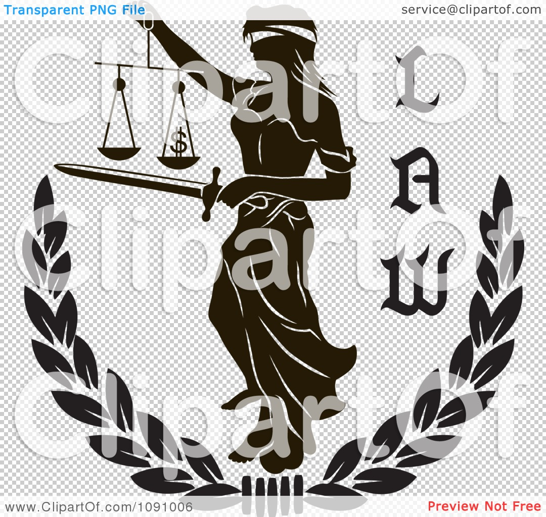 Clipart Black And White Laurel With Lady Justice And Law Text ...