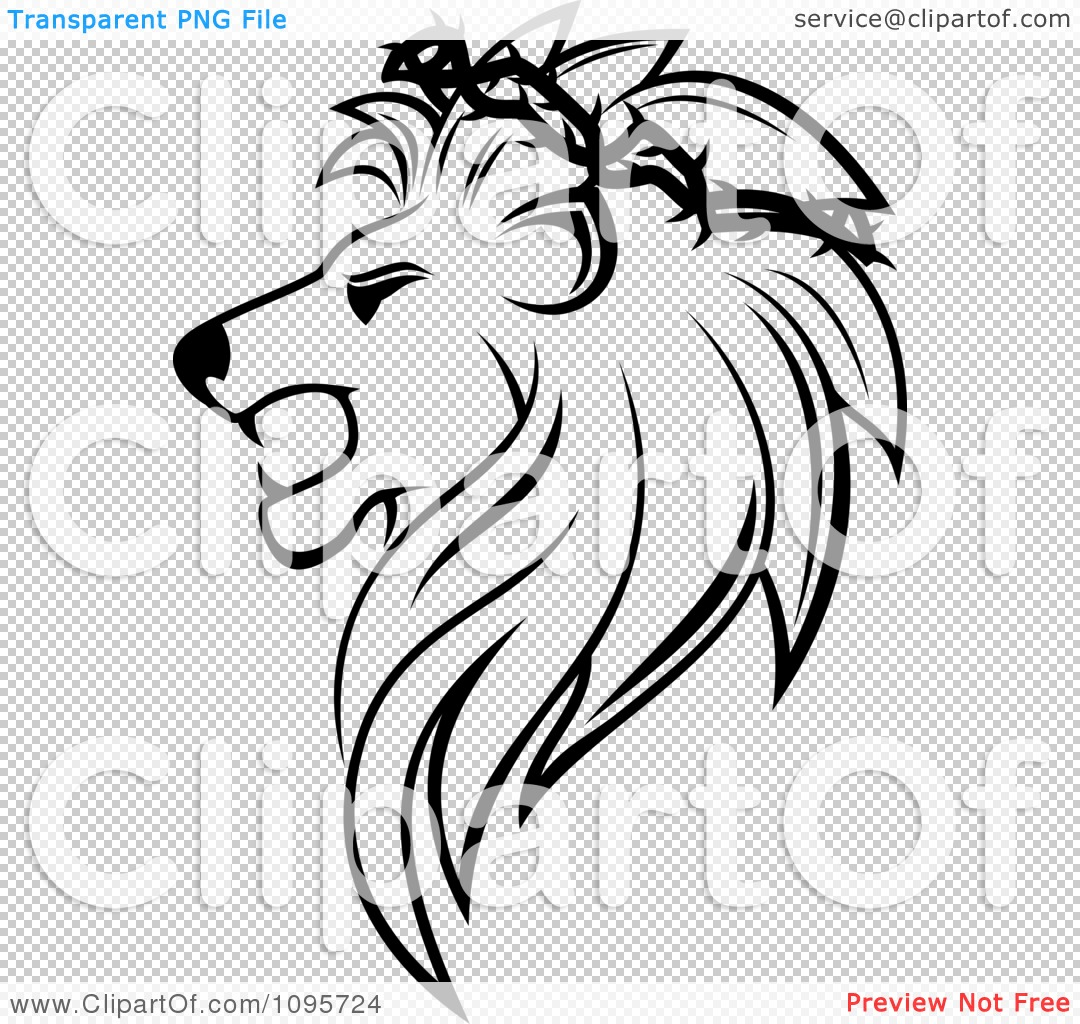 Clipart Black And White Lion Head In Profile With A Thorny Wreath ...
