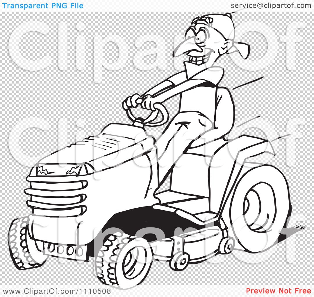 Clipart Black And White Man On A Riding Lawn Mower Royalty Free