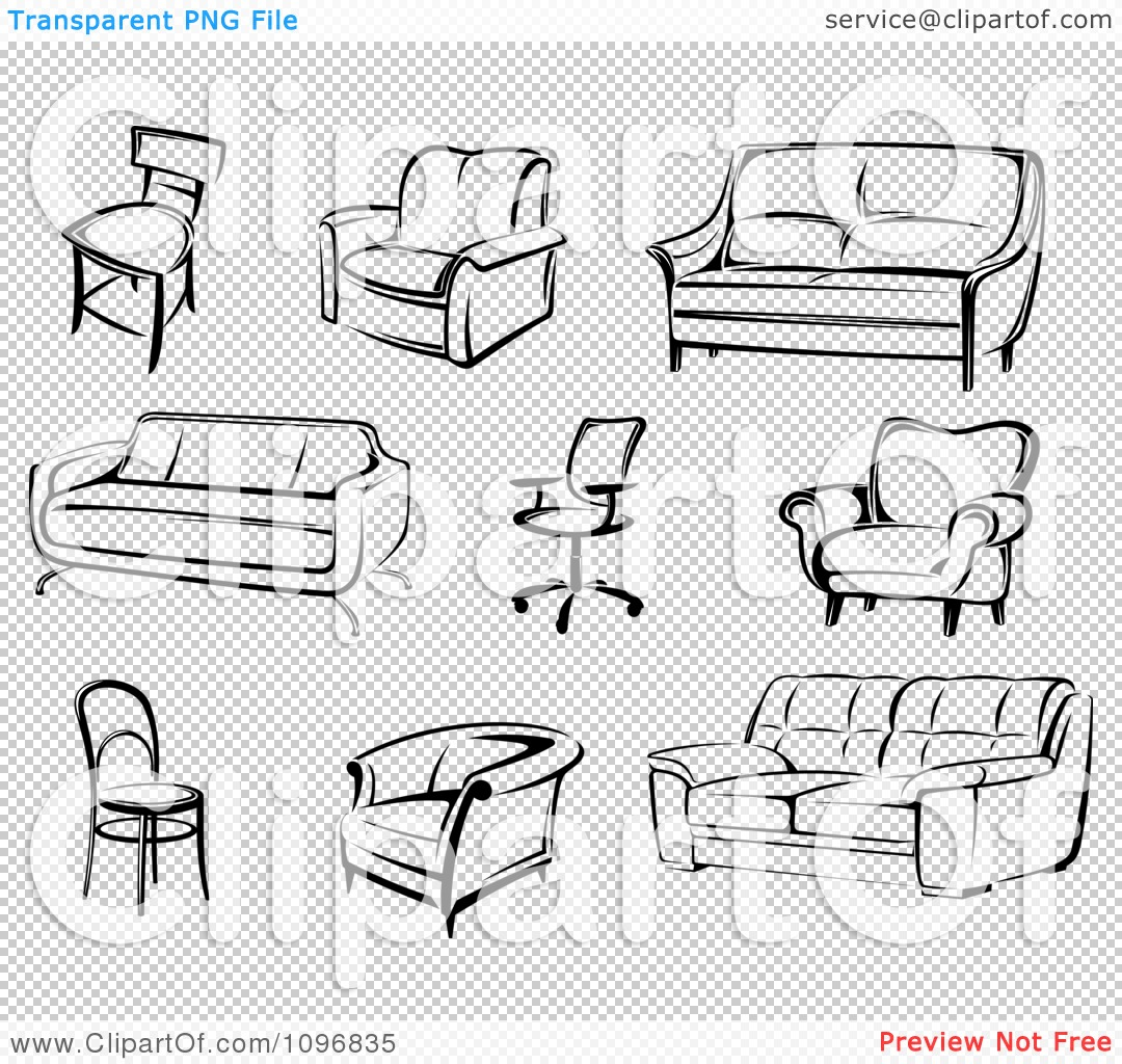 Clipart Black And White Modern Furniture Royalty Free Vector