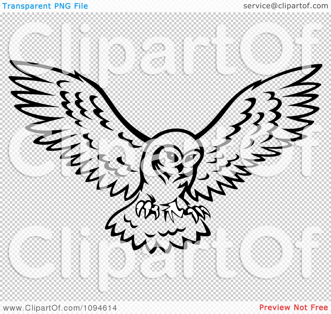 Clipart Black And White Owl In Flight - Royalty Free ...