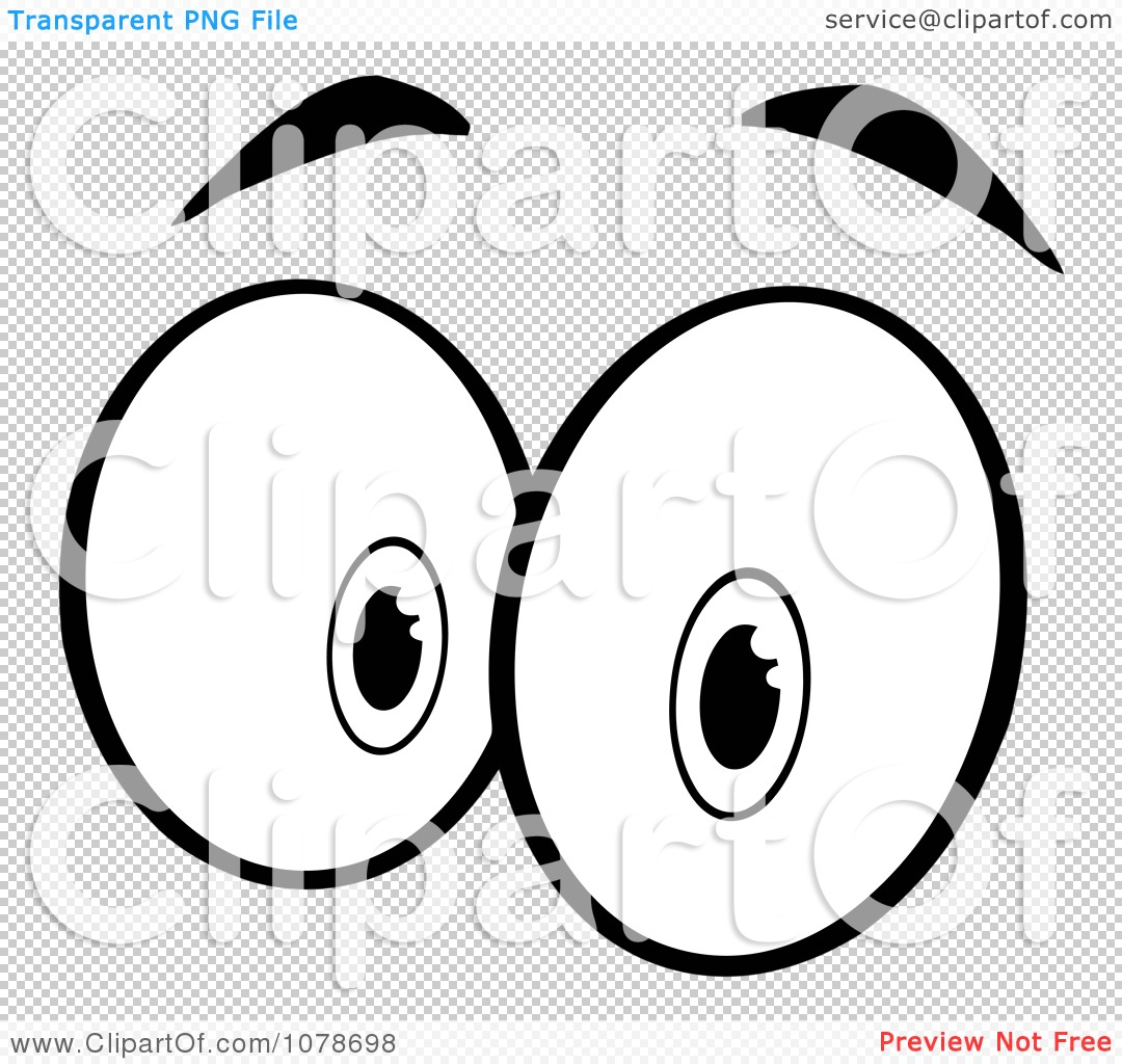 Clipart Black And White Pair Of Surprised Eyes - Royalty ...
