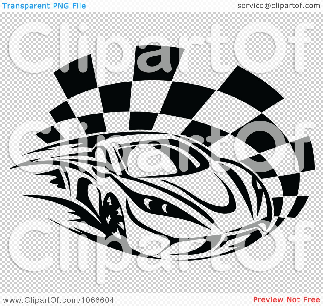 Clipart Black And White Race Car And Checkered Flag 1 - Royalty ...