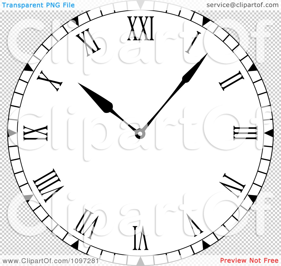 Clipart Black And White Roman Numeral Clock Face Royalty
