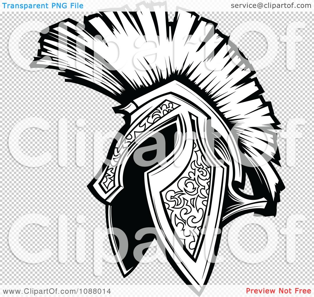 Black & White Spartan Helmet Logo