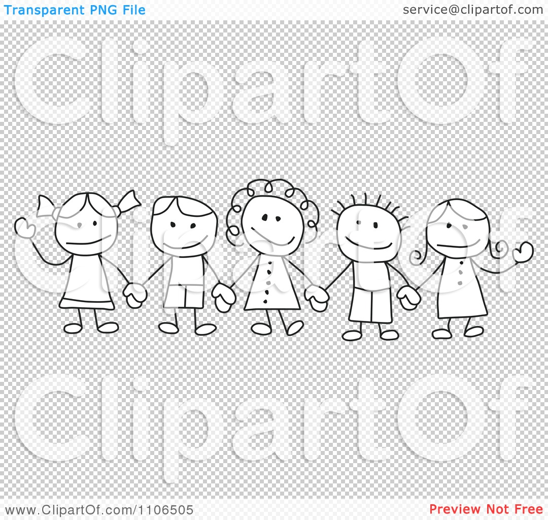 Clipart Black And White Stick Drawing Of Multi Ethnic ...