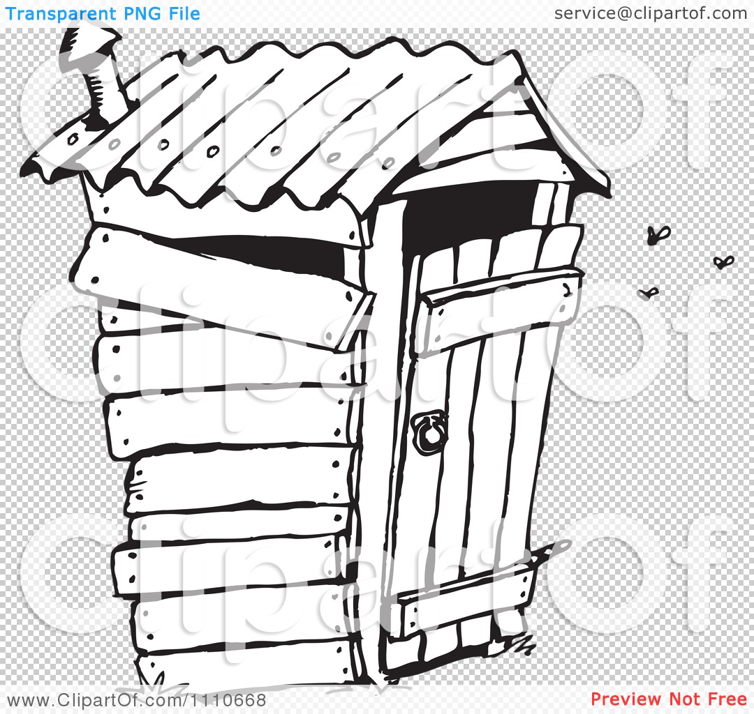 Clipart Black And White Stinky Outhouse Privy - Royalty Free ...