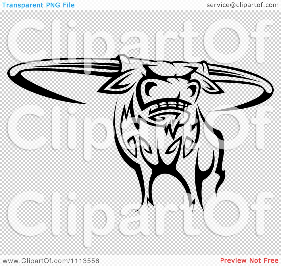 Clipart Black And White Tribal Texas Longhorn Steer Bull 2 - Royalty
