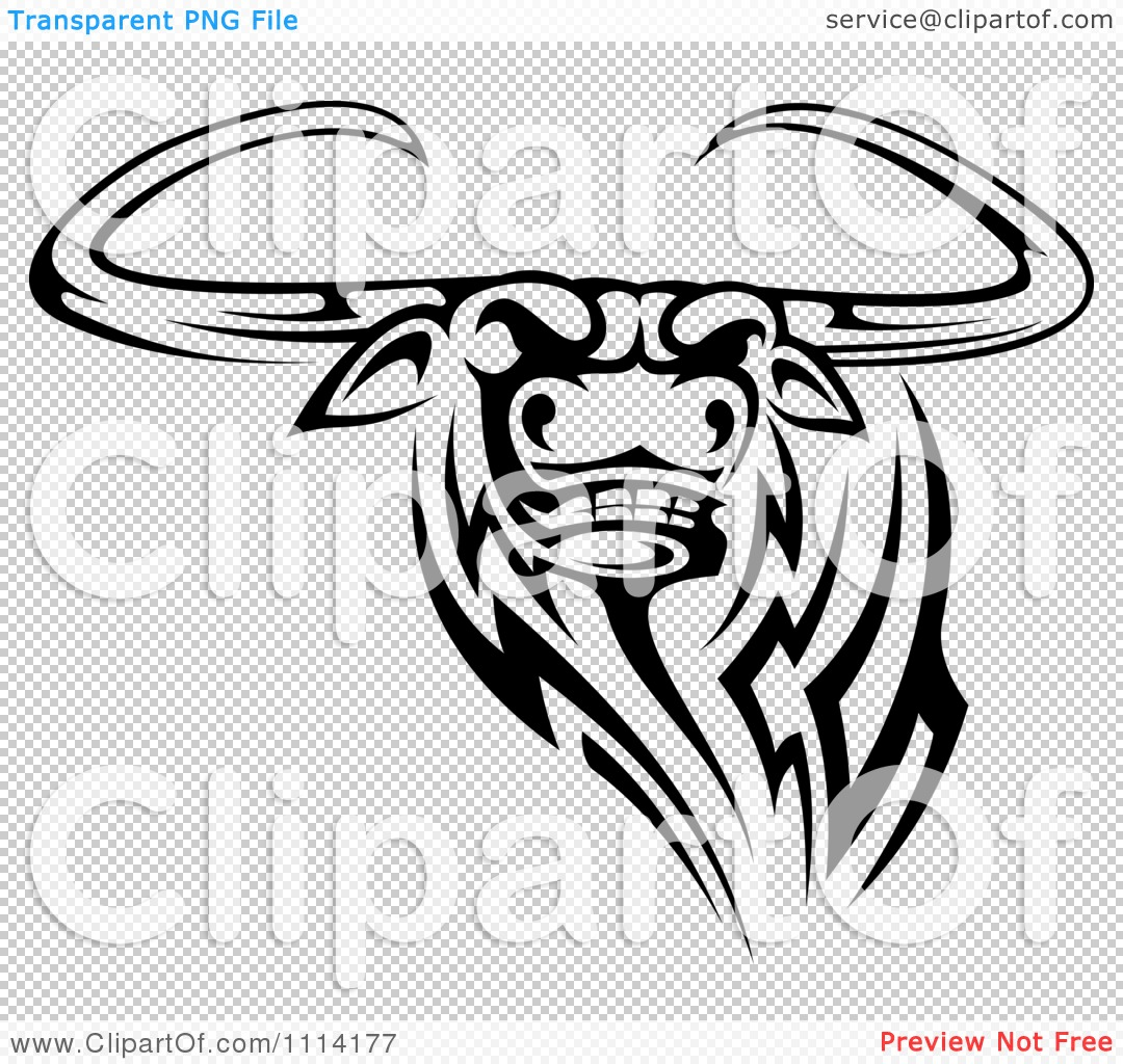 Clipart-Black-And-White-Tribal-Texas-Longhorn-Steer-Bull-3-Royalty ...