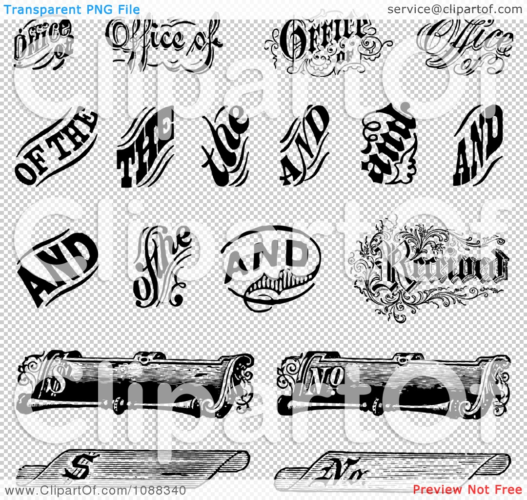 Clipart black and white vintage word and scroll design Blueprint designer free