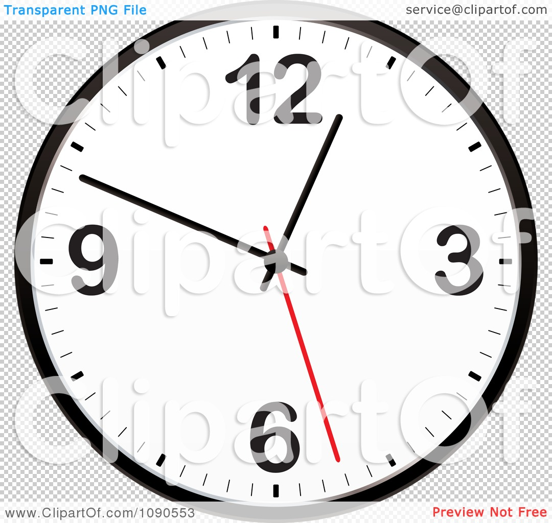 Clipart Black And White Wall Clock With A Red Second Hand