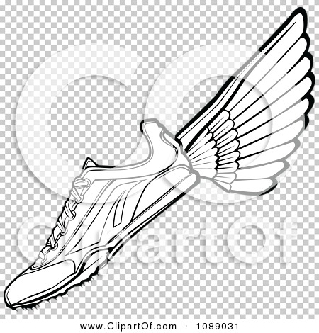 Clipart Black And White Winged Track Shoe - Royalty Free Vector ...