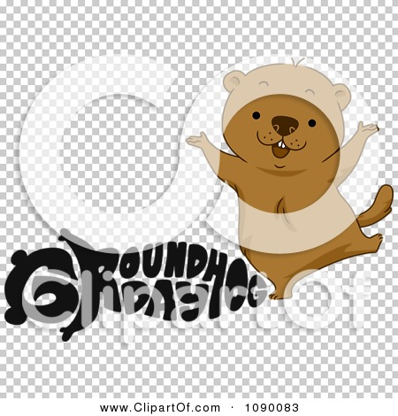 Clipart Black Groundhog Day Text And A Happy Woodchuck - Royalty ...