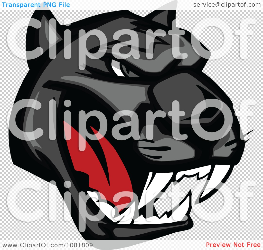 Black Panther Growling Royalty Free Stock Image: Clipart Black Growling Panther Head