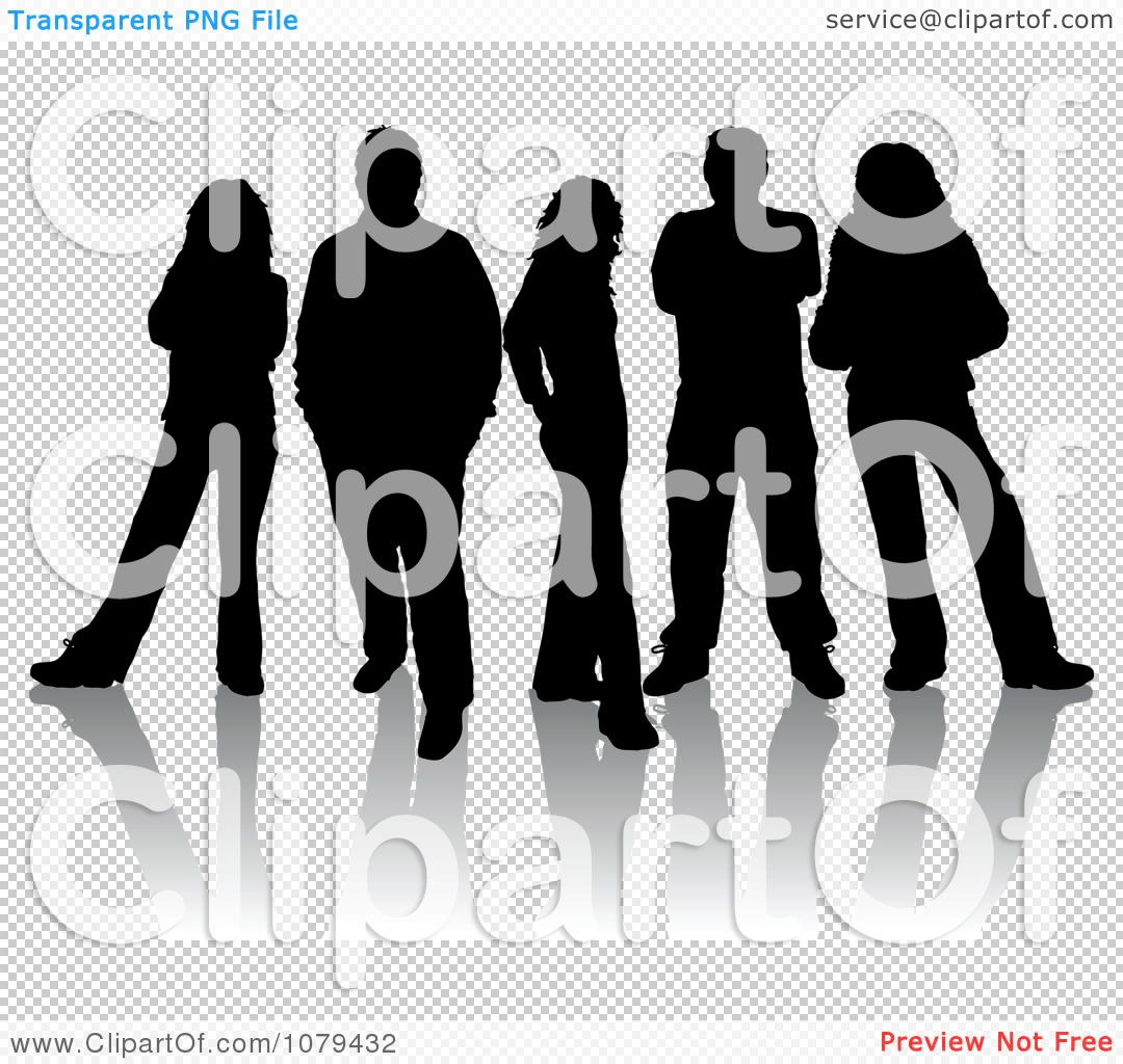 Clipart Black Silhouetted Group Of People With Reflections ...