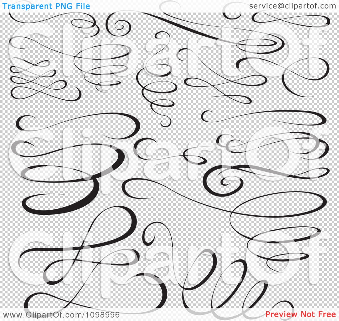 Clipart Black Swirl Scribbles And Design Elements - Royalty Free