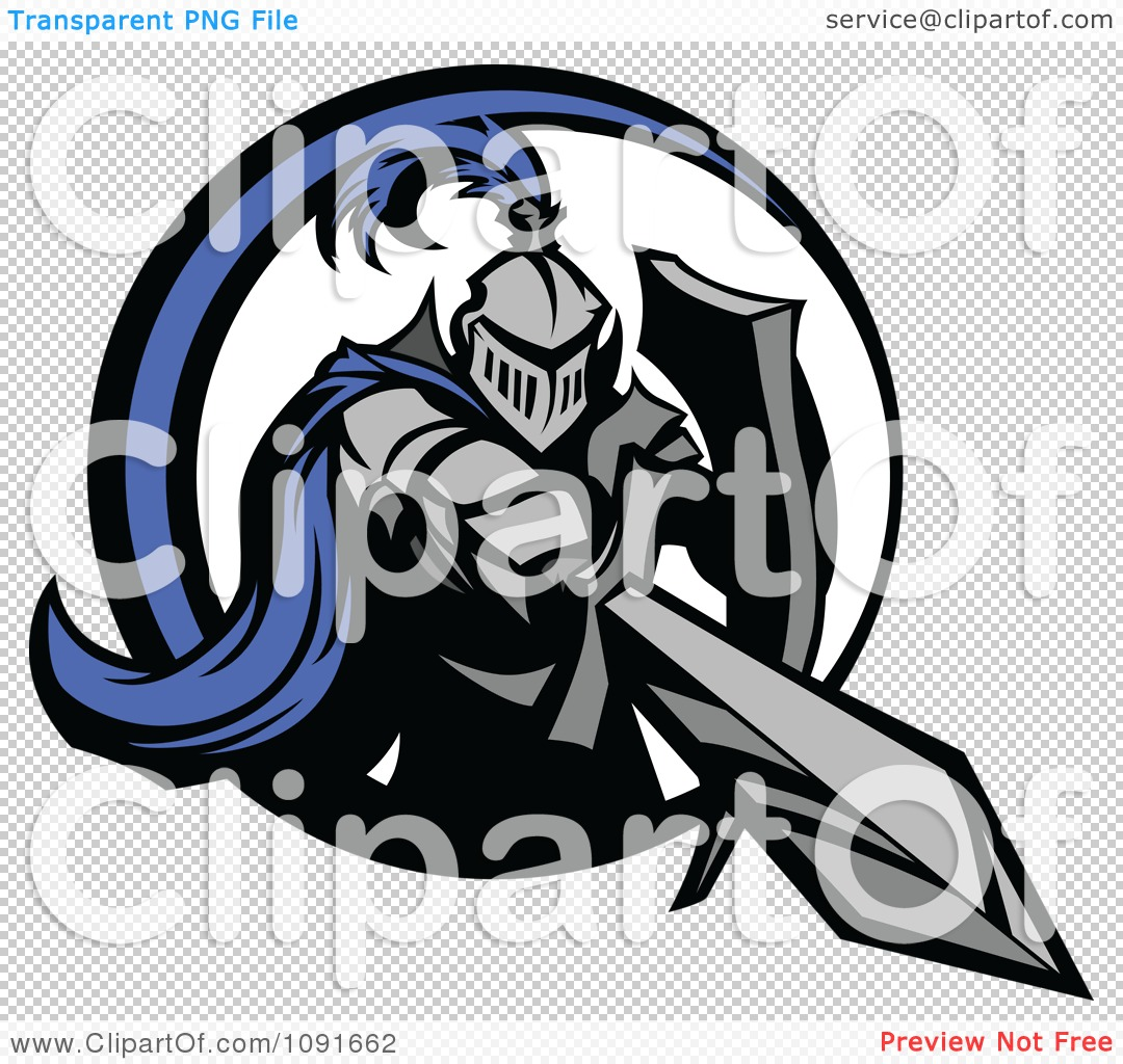 Clipart Blue And Gray Knight Stabbing With A Sword - Royalty Free ...