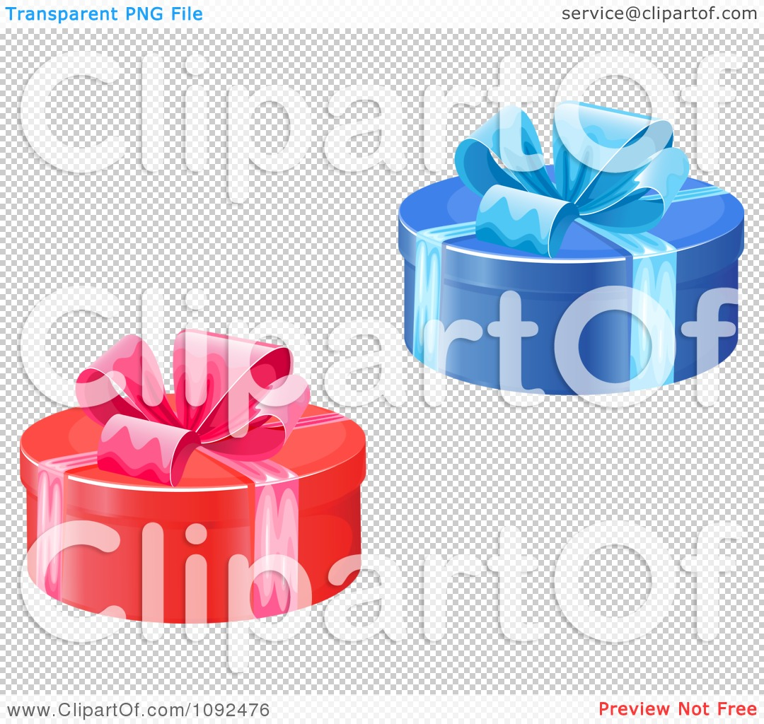 Clipart Blue And Red Round Gift Boxes With Bows - Royalty Free ...