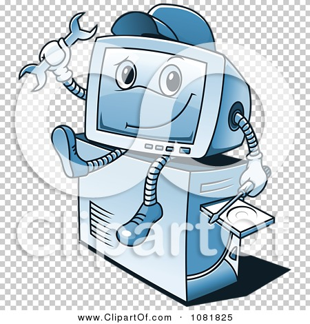 Clipart Blue Computer Repair Guy Sitting On A Tower - Royalty Free ...
