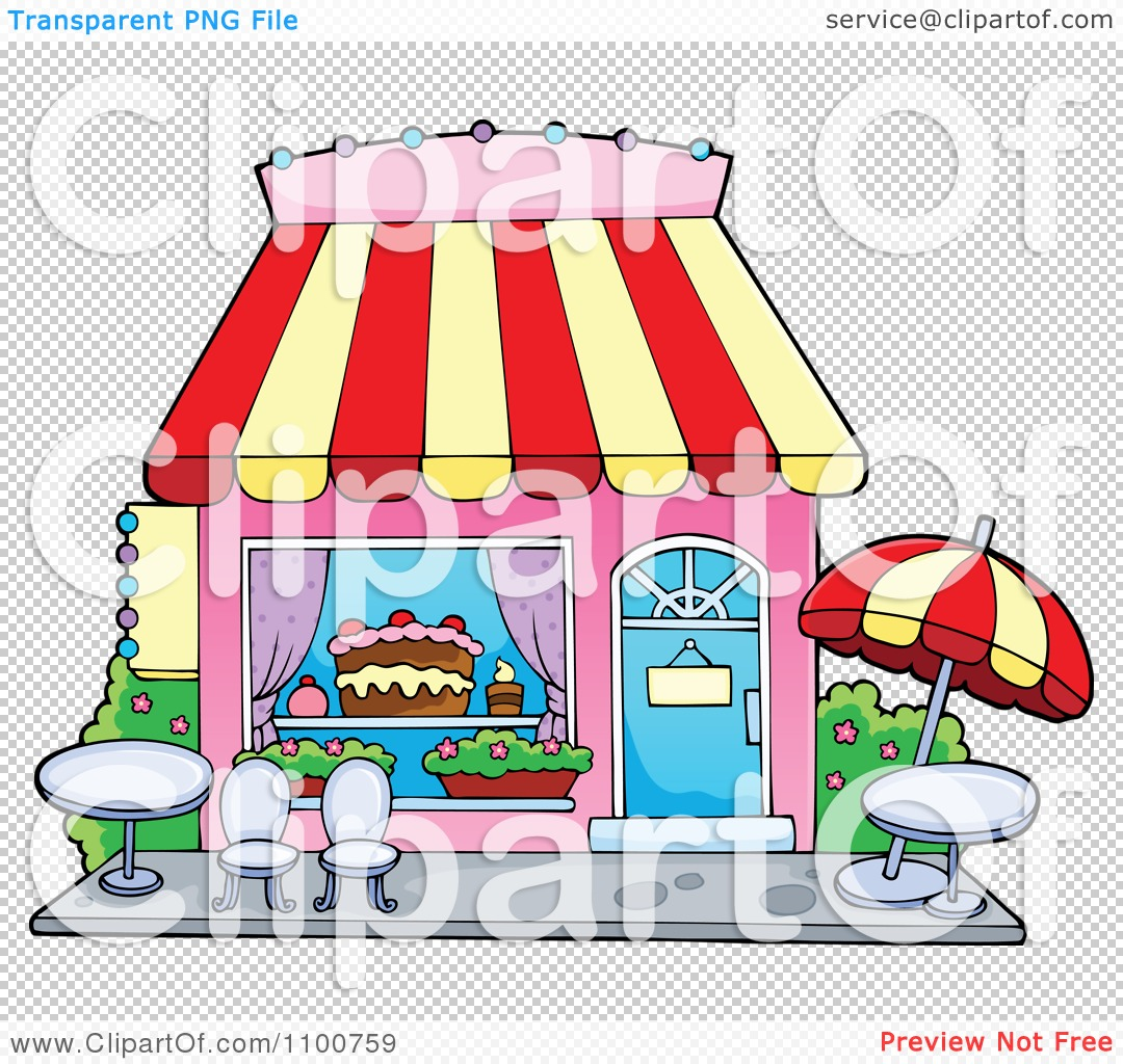 Cake Store Clipart : Clipart Cake Or Candy Shop With Outdoor Seating - Royalty ...