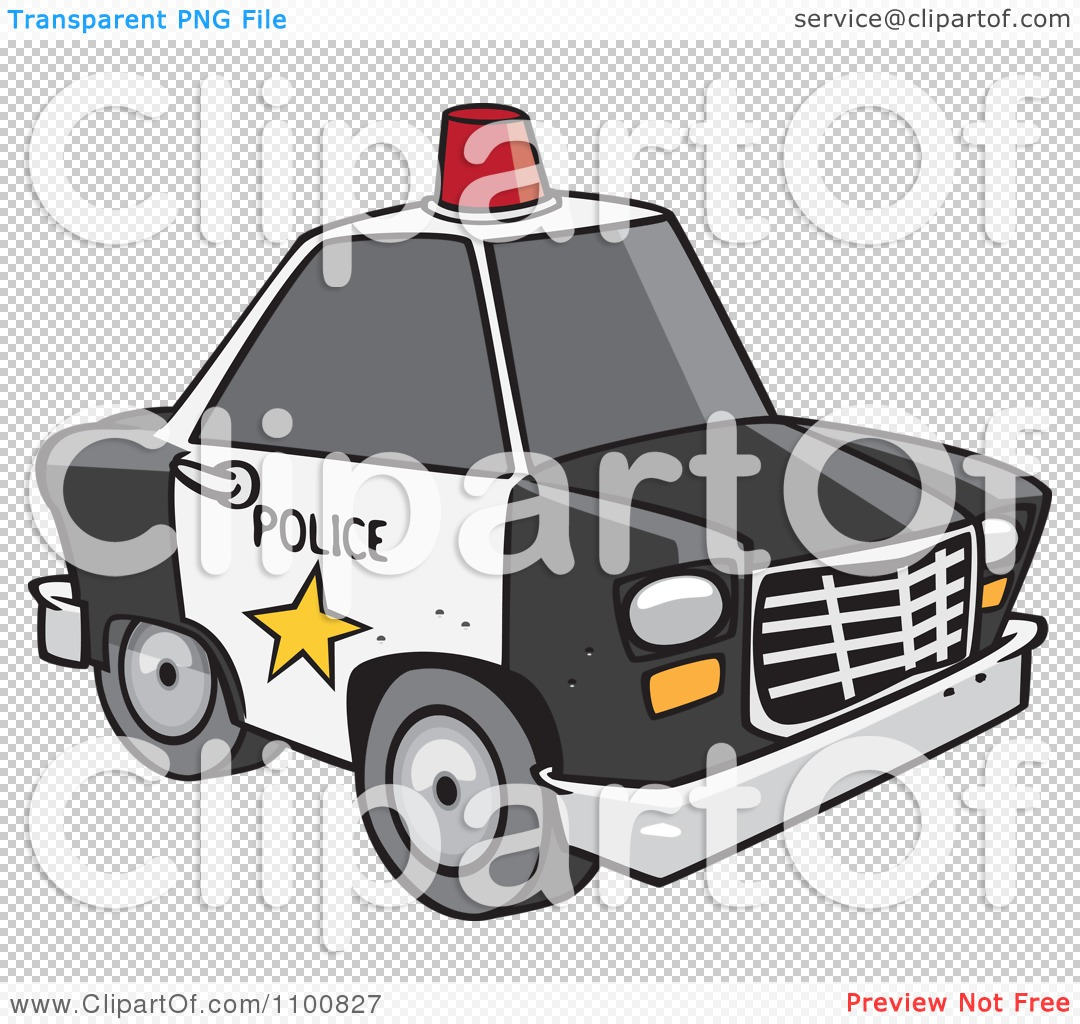 clipart cartoon police car with a siren cone on the roof royalty