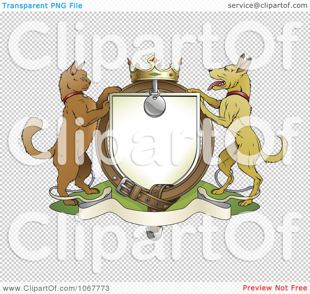 Clipart Cat And Dog Pets Coat Of Arms With A Collar