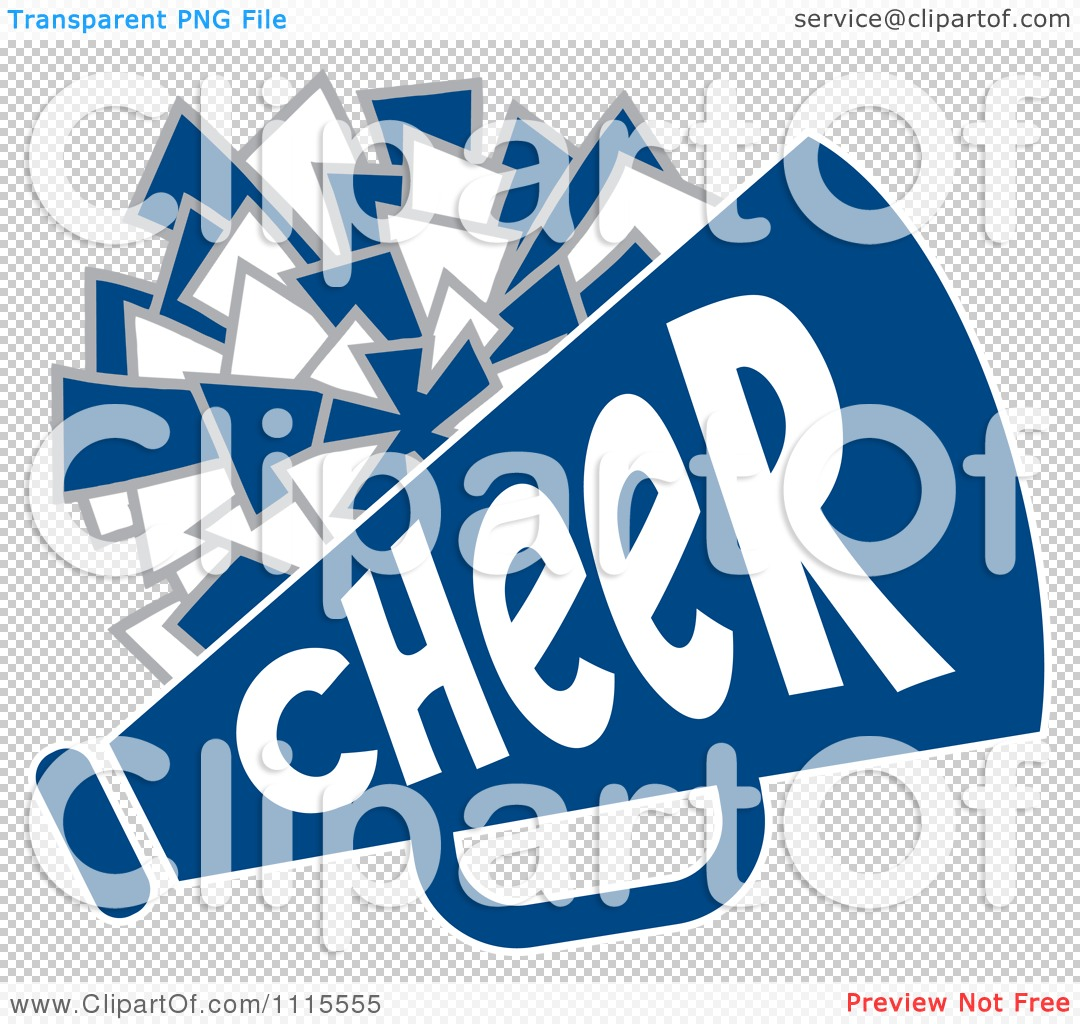 clipart cheerleader pom pom and megaphone in blue tones