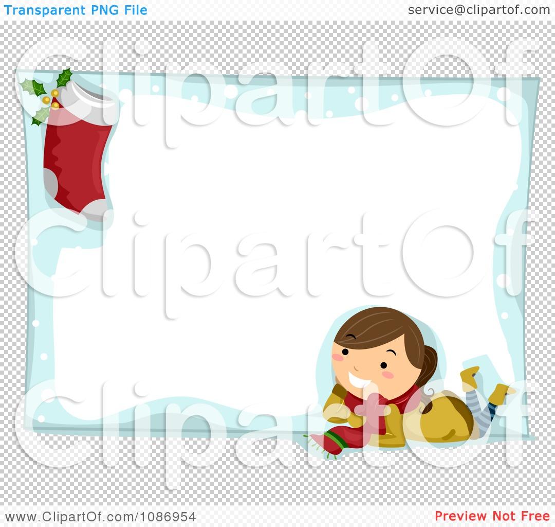 Clipart Christmas Girl And Stocking On A Christmas Snow Frame ...
