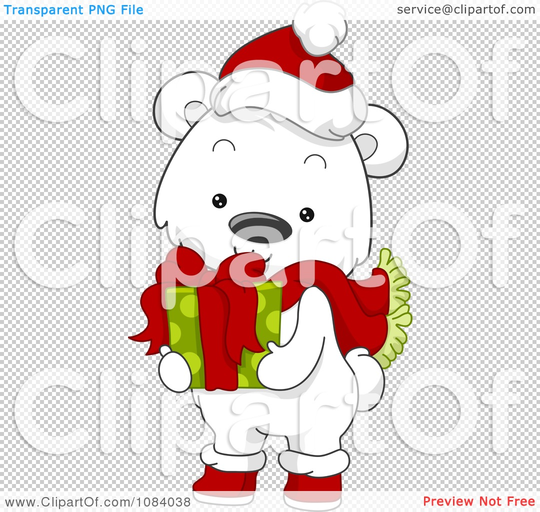 Clipart Christmas Polar Bear Holding A Gift Royalty Free