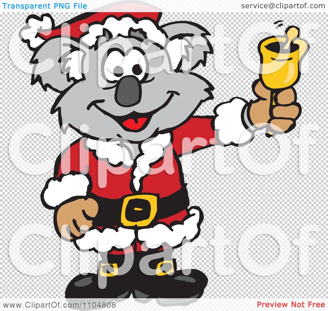 Clipart Christmas Santa Koala Ringing A Charity Bell - Royalty Free Vector Illustration by ...
