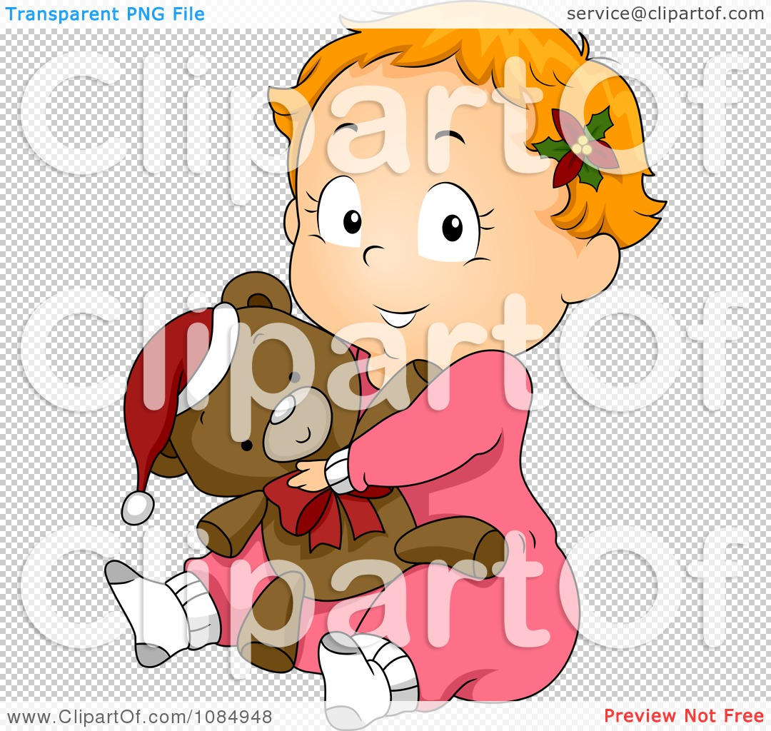 Clipart Christmas Toddler In Pjs Hugging A Teddy Bear - Royalty ...