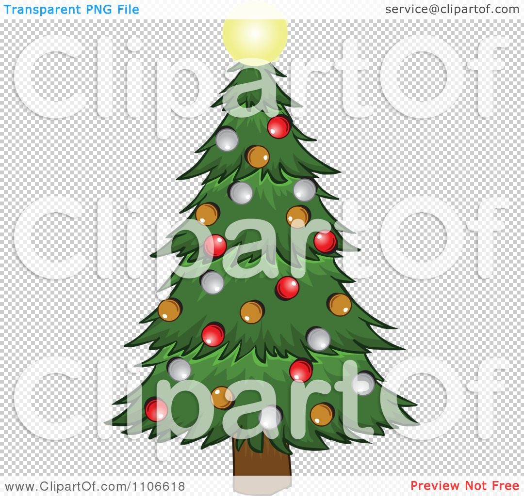 Clipart Christmas Tree And Glowing Star - Royalty Free Vector ...