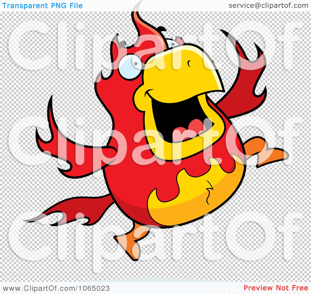 Clipart Chubby Phoenix Jumping - Royalty Free Vector Illustration ...