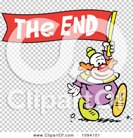 Clipart Clown Carrying A The End Banner - Royalty Free Vector ...