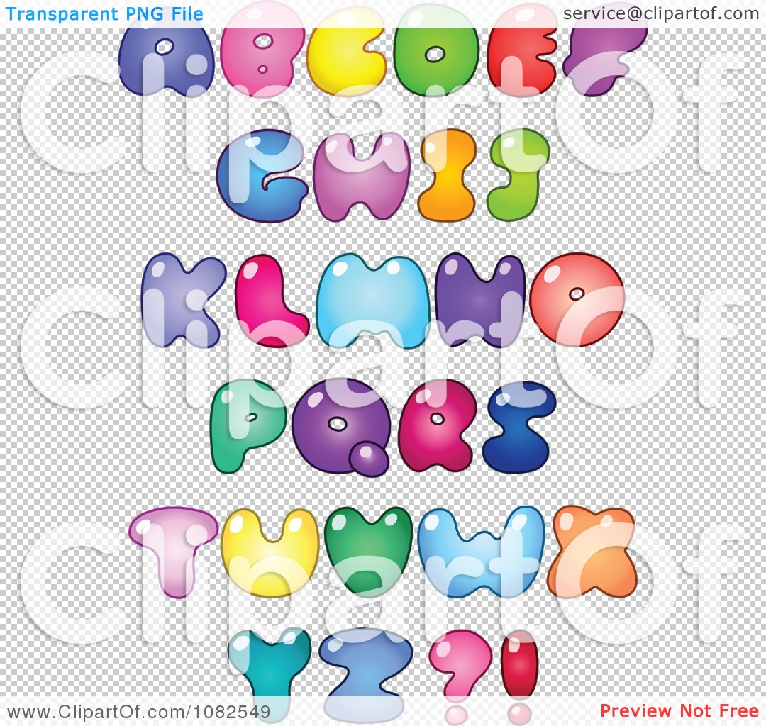 Clipart Colorful Fat Capital Bubble Letter  Royalty Free Vector