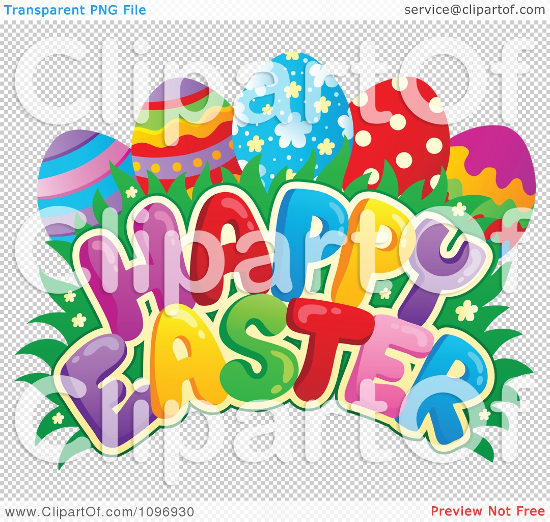 clipart colorful happy easter greeting eggs grass and flowers